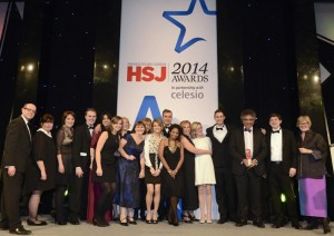Portsmouth Hospitals NHS Trust Research team at the HSJ awards 2014